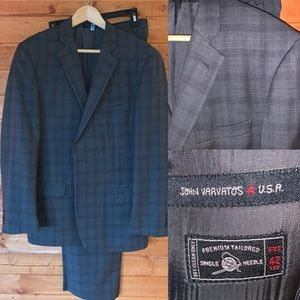 John Varvatos glen plaid suit dark grey 42R